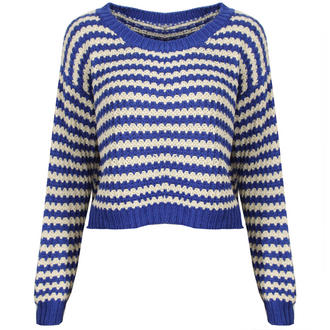 View Item Blue and White Striped Cropped Knit Jumper